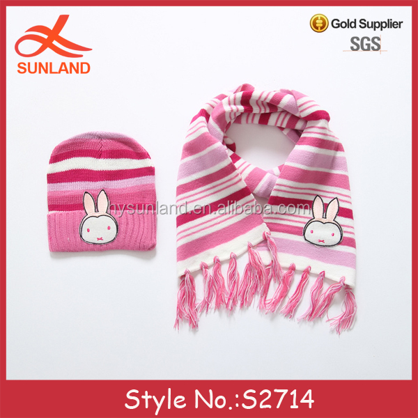 S2714 fashion 2017 winter kids knitted wholesale baby hats and scarf sets