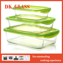Leak proof heat- resistant glass food container set/ lunch bento/ glass food storage