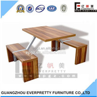 Hot Sale Cheap Square Wood Restaurant Dining Table Set, Compact Dining Table Set, Canteen Table