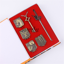 HOT Anime Shingeki No Kyojin Attack on Titan Survey Corps Badge+weapons+key Pendant Necklace Props Set Collectibles Toys