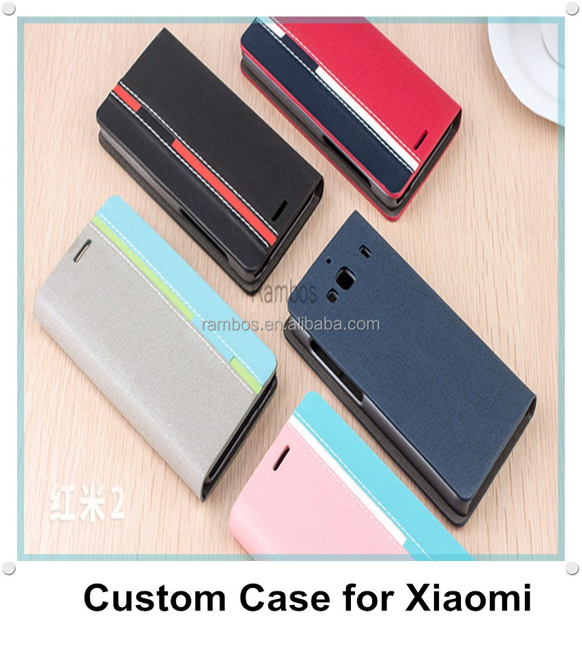 Luxury PU Leather Flip Case Cover Stand Wallet Card Holder for Xiaomi Hongmi 2 Redmi 2 for Xiaomi M1 M2 M2S