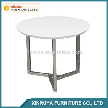 Round stainless steel leg bed side table