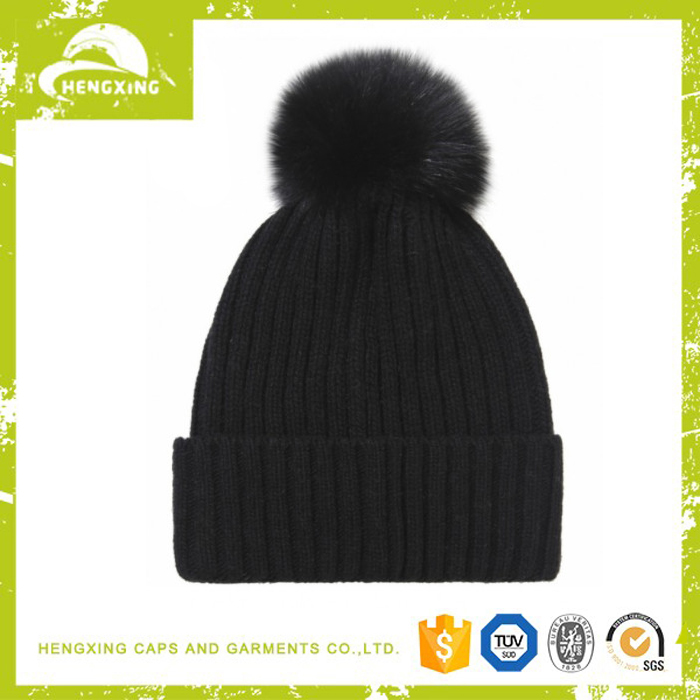 Faux leather beanie labels custom pom beanies picture