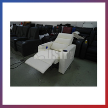 Electric cinema leather reclining sofa white with LED controller