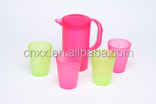 plastic PP water pitcher set with 4 cups