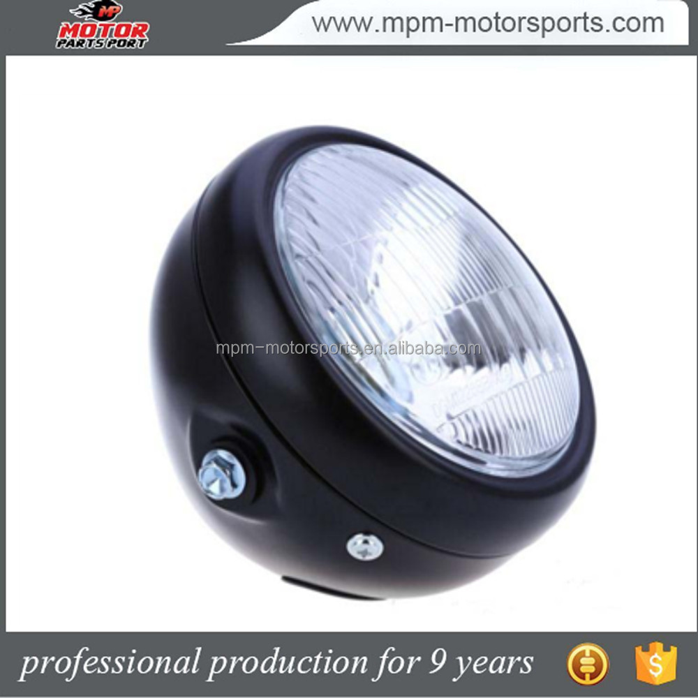 "5.75"" Black Metal Retro Round HeadLight for Harley Motorcycle CG125 CN125"