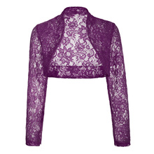Grace Karin Stock Womens Ladies Long Sleeve Cropped Purple Lace Shrug Bolero for Dress BP000049-9