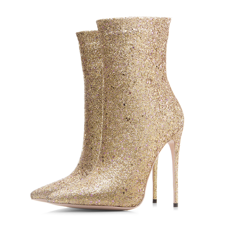 women <strong>boots</strong> 2018 Gold Glitter Bling Pointed toes Party footwear gold Women High heels Dress shoes Ladies short ankle <strong>boots</strong>