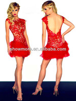 Style Number N226 Sexy Red Sleeveless Backless Lace Short Feather Cocktail Dress