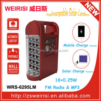 Portable Multifunction Rechargeable Emergency Solar Lamp with Radio/MP3/Mobile Charger (WRS-6295LM)