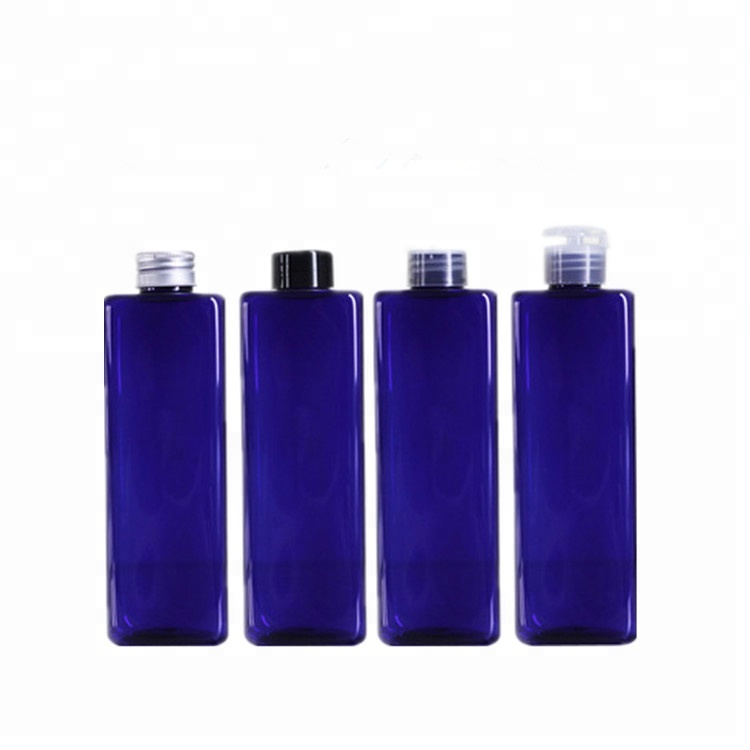 Wholesales 250ml 500ml square PET plastic blue shampoo bottle / dispenser bottle for gydrolat