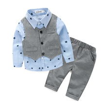 Children boys star embroidery shirt+waistcoat+pants clothing set China factory