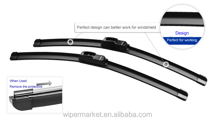 Bosch type snow flat auto wiper blade for U HOOK wiper arms