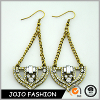 New design jewelry diamond dangler gold color stud earrings
