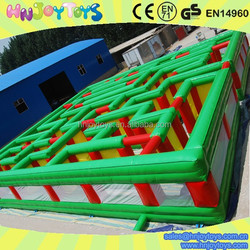 Inflatable outdoor green and red giant maze
