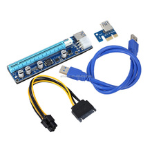 VER008C 6pin pci e x16 riser card usb 3.0 cable with the molex for Bitcoin Litecoin miner
