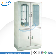 MINA-MC004 stainless steel metal hospital cabinet glass door,storage cupboard