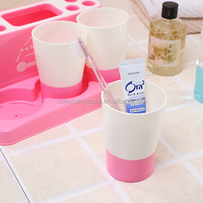 3 Cups + Toothpaste Dispenser + Toothbrush Holder Set