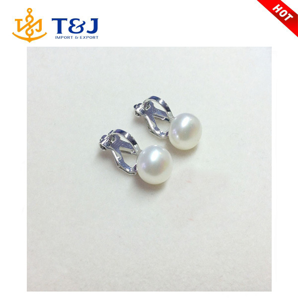 Latest fashion 925 silver clip on earring holder freshwater pearl earring designs
