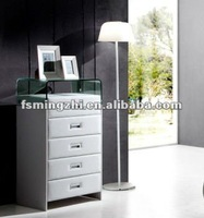 white dresser with glass