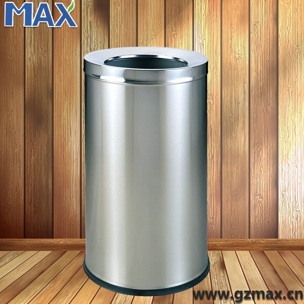 single layer round open top garbage stand dustbin, waste trash can