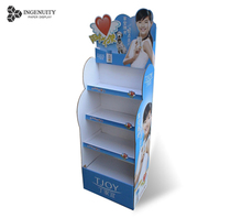 Eco-friendly 4 Tiers Supermarket Cardboard floor Display Stand Folding Corrugated Paper Racks for Charity Shops