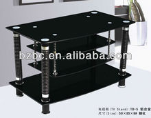2017 New Fashionable black glass free standing tv stand