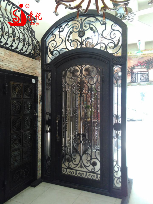 Antique wrought iron entry door