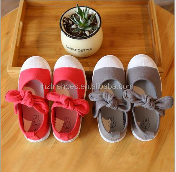2016 summer fashion bowtie children shoes cute kids canvas ballet new baby princess girls single shoes