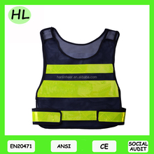 Class 3 High reflective mesh black safety vest with reflective PVC tape meet ANSI EN20471