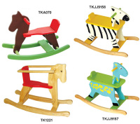 Colorful environmental non-toxic rocking horse wood