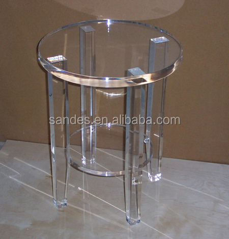Luxury Plexiglass Round End Table Transparent Lucite Dining Table Acrylic Bed Room Vanity Table