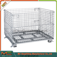 Folding Steel wire mesh container, storage cage