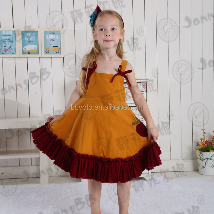 Kids Girls Corduroy Fabric Ruffle Boutique Clothing Sets