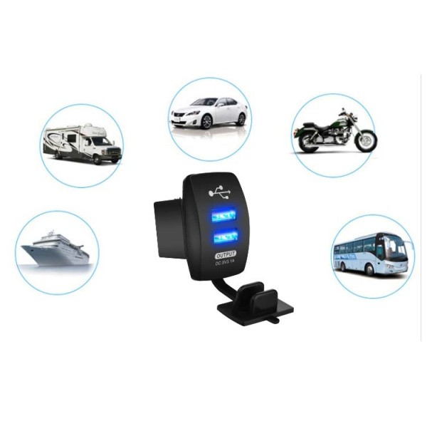 Dual USB Motorcycle Cycling Car Charger