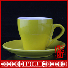 Plain white coffee cup and saucer ceramic