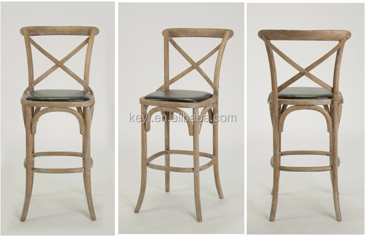 Antique Wood PU Seat cross back Bistro Counter Stool/bar stool high chair(KY-3045-2-OAK)