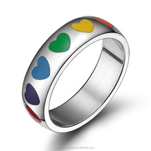 Rainbow Colorful Women Stainless Steel Heart Shaped Enamel Ring