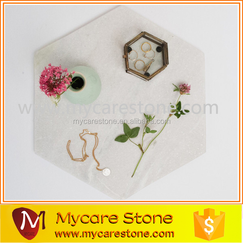 Natural hexagonal carrara marble honed marble serving plate for jewelry