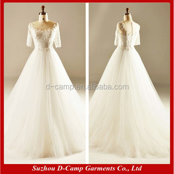 WD008 Elegant princess ball gown wedding dresses with sleeves