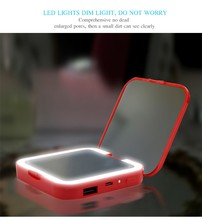 2017 New Design Pocket Vanity Mirror With Lights Power Bank Led Makeup Mirror
