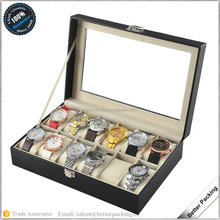 PW023C 12 Slots Quality Carbon Fiber Leather Wooden Watch Box with Pillow