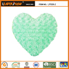 Fresh green beautiful rose printing plush heart shaped cushion pillow