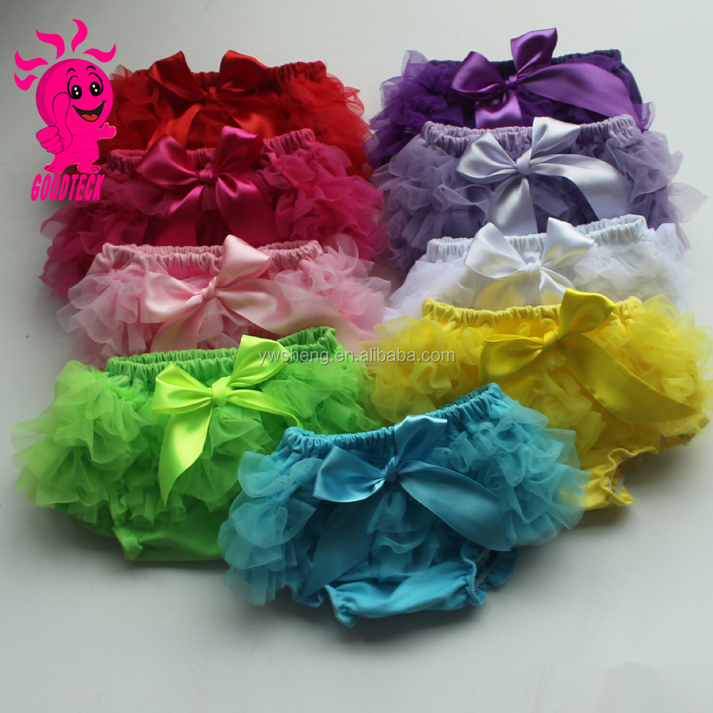 New arrival cotton cute baby chiffon ruffle bloomer with bowknot,100% cotton baby diaper cover for infant &Toddlers baby shorts