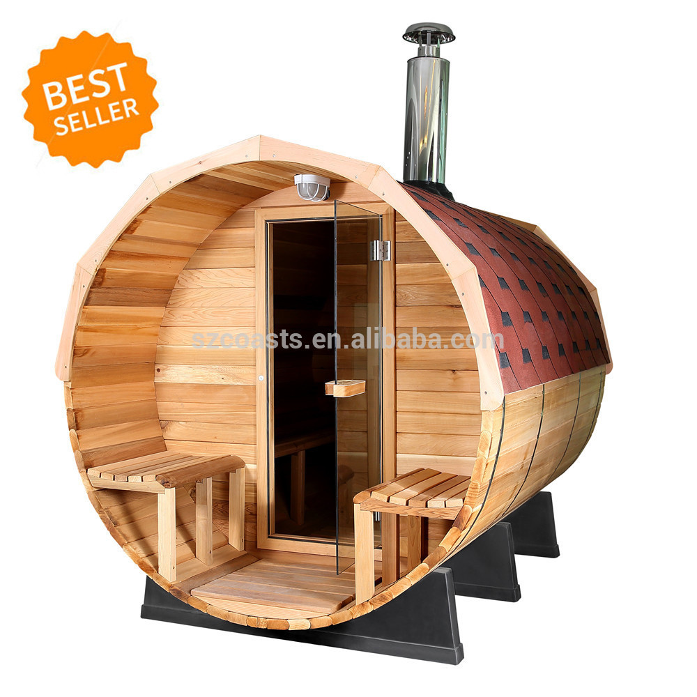 New design(2~6person)Outdoor Sauna Room with porch and sauna heater use for barrel Sauna Room