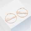 Large Custom Personalized Gold Name Earring Hoop for Women Fashion