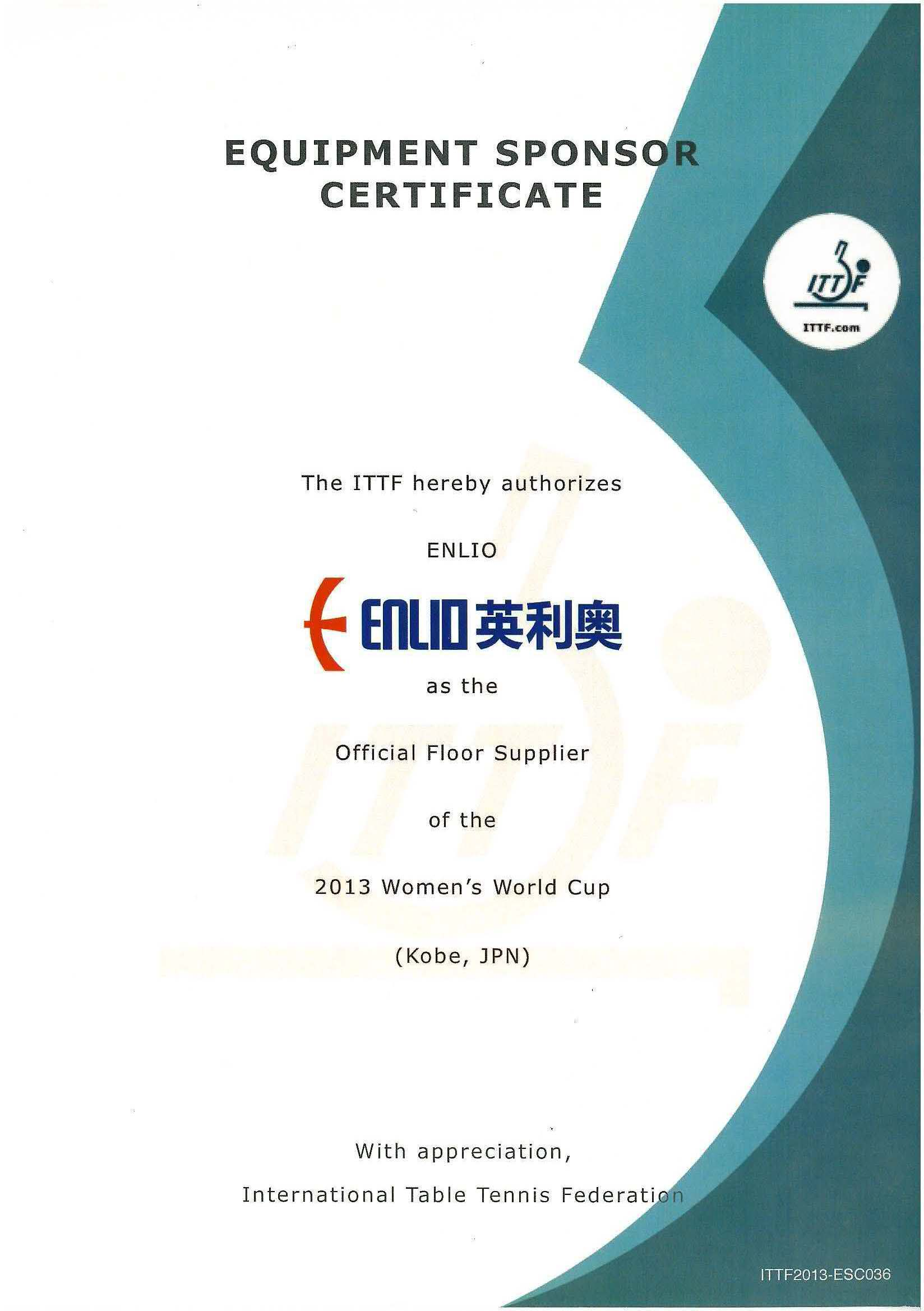 PVC table tennis floor mat with ITTF certificate