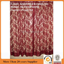 Red rod pocket rose lace curtains