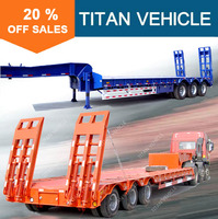 Titan cheap new 2 3 4 axle gooseneck low loader flatbed car trailer truck semi trailer for sale used