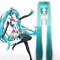 Hot Sale!! 7Colors Vocaloid Hatsune Miku Fashion Cosplay Wig Ponytail 130cm Long Straight Synthetic Hair Anime Wig